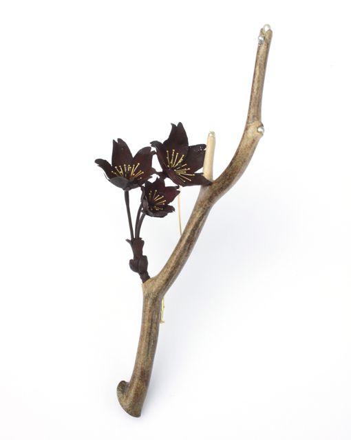 Brooch | Kimiaki Kageyama.  'Mountain Cherry Blossoms'.  Iron, pearls, coral, yellow gold.