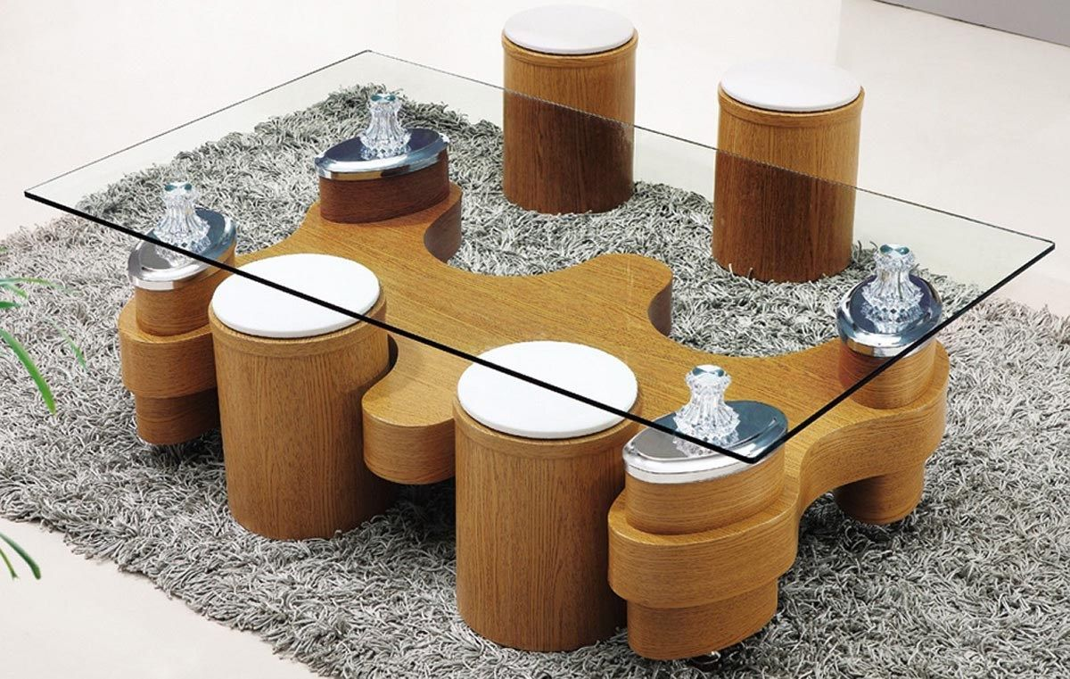 More Click Coffee Table With Stools Ashley Glass Coffee