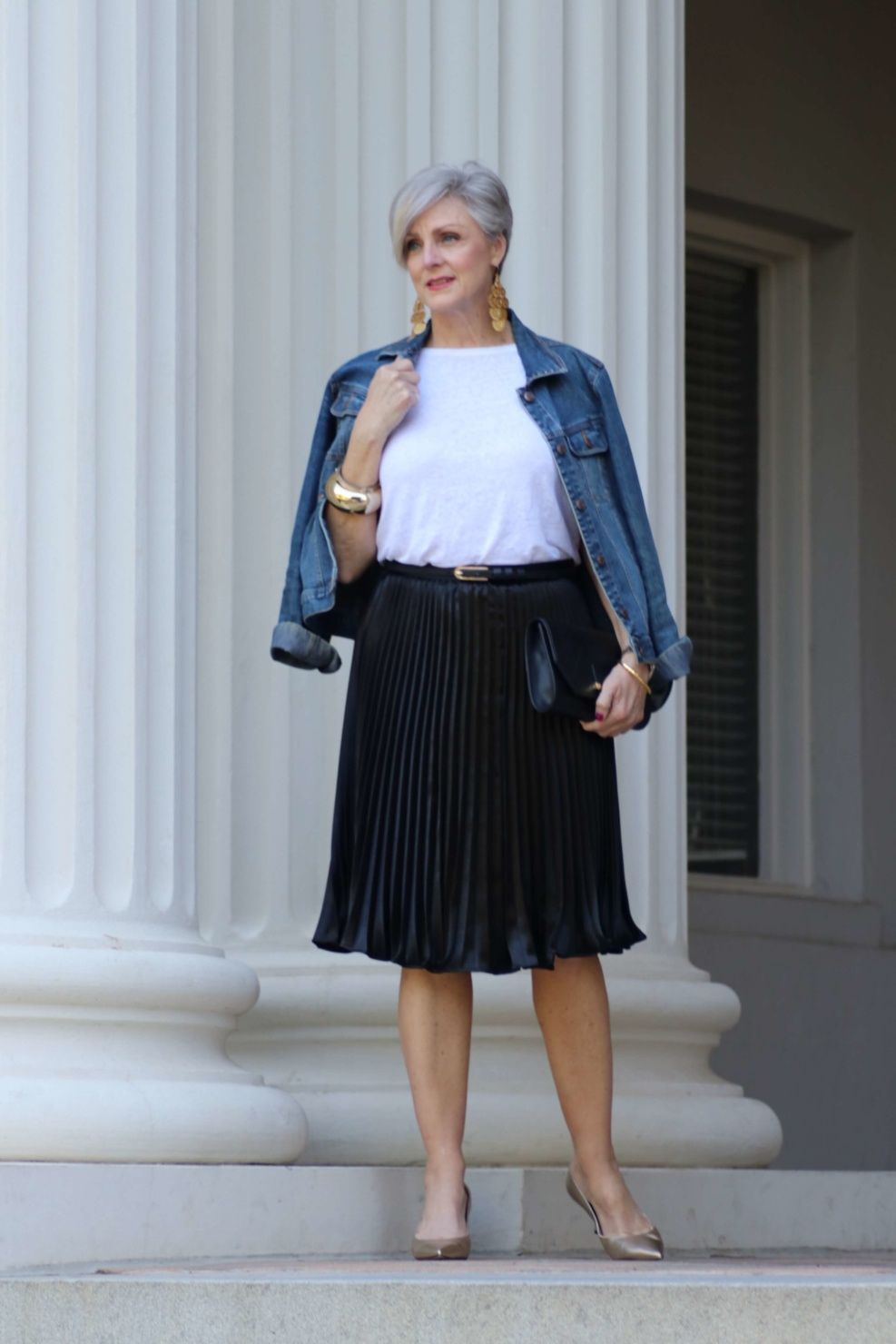 How To Wear A Denim Jacket In Spring And Summer Style At A Certain Age Spring Skirt Outfits Fashion Style At A Certain Age [ 1480 x 987 Pixel ]