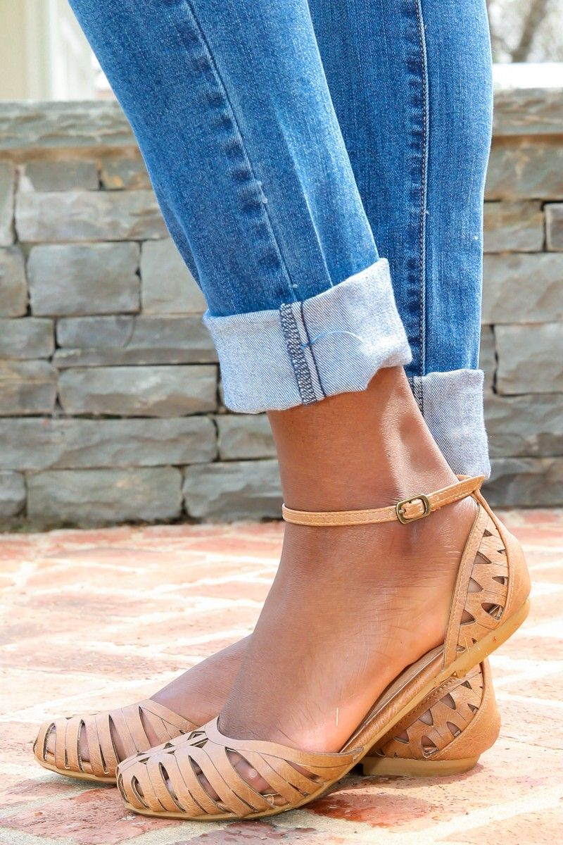 tan ankle strap closed toe huarache flat by red dress ...