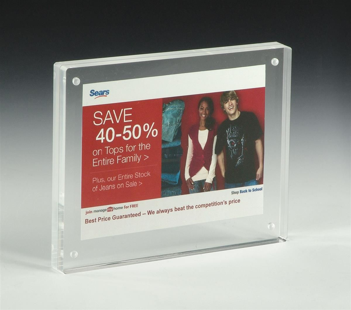 5 X 7 Magnetic Picture Frame For Tabletop Double Sided Box Clear