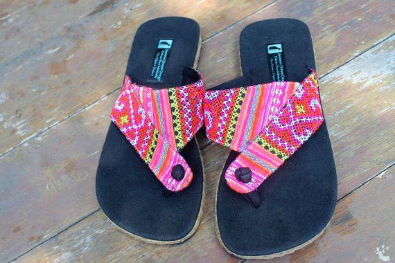 0a3cee92463a9 Vegan Hmong Womens Flip Flops Thong Sandals In Colorful Ethnic ...