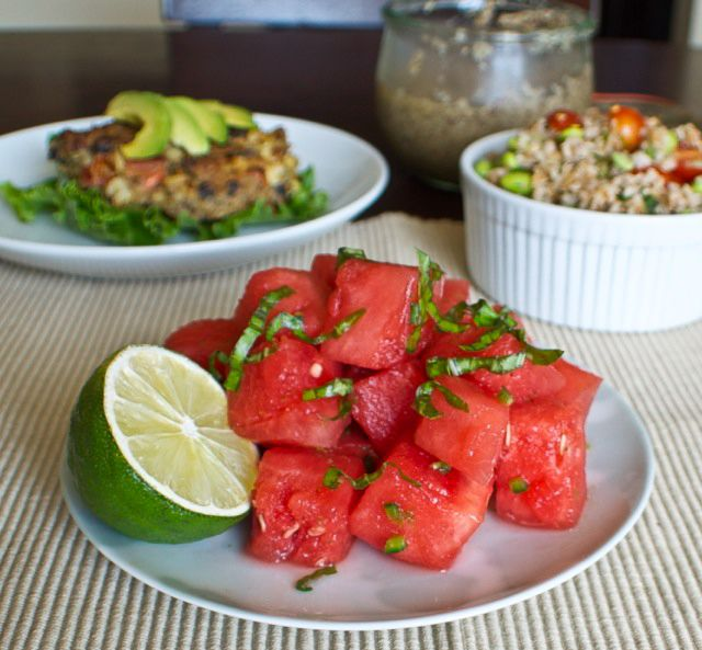 Watermelon, jalapeno, lime and basil make for a refreshing summer salad!
