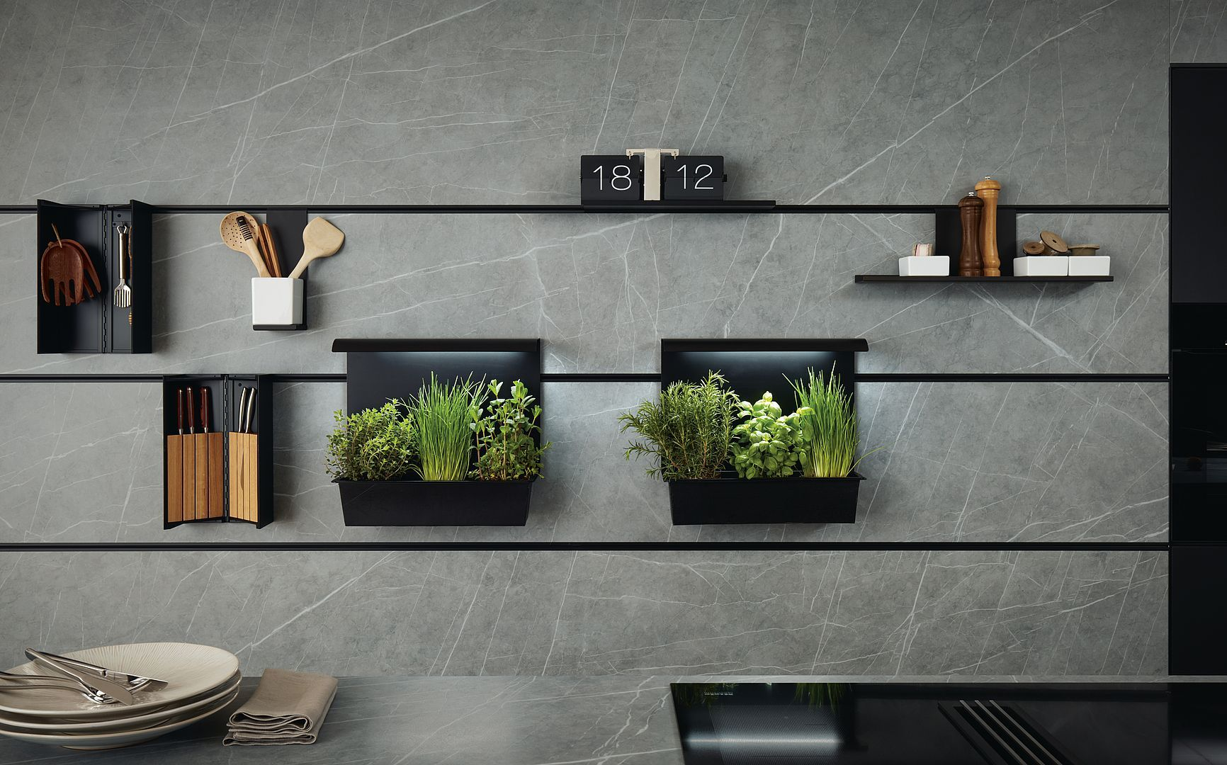 Next kitchen recessed panel hanging system kitchen features