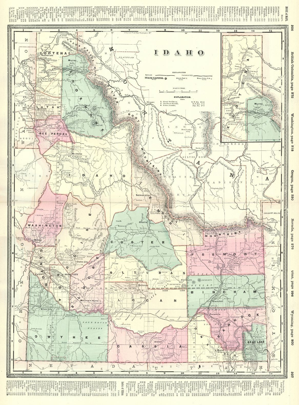 Map Antique Idaho H B Walker 1895 Double Page State Map With