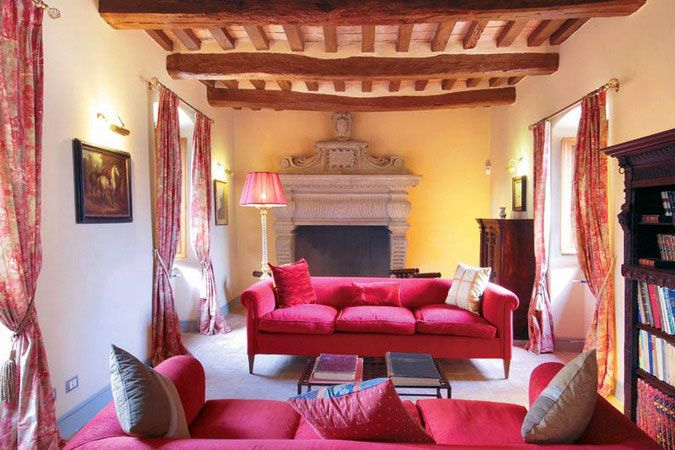 Living Room Red Couch