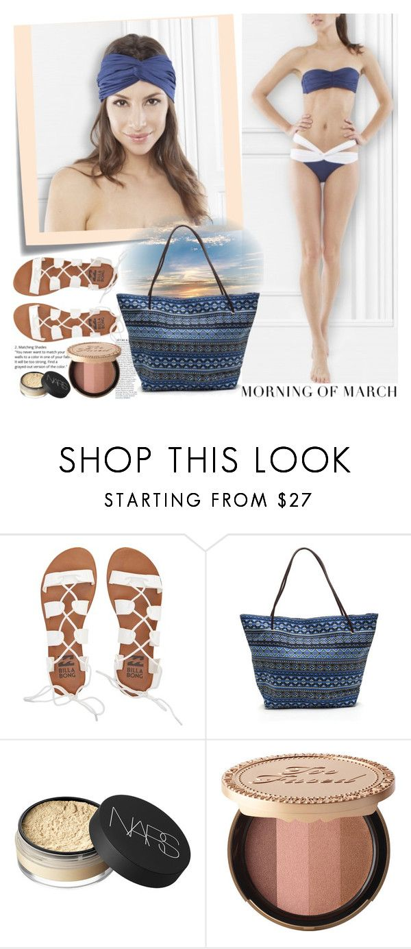 """""""MORNING OF MARCH"""" by gaby-mil ❤ liked on Polyvore featuring Post-It, Anja, Billabong, NARS Cosmetics, Too Faced Cosmetics, swimwear and morningofmarch"""