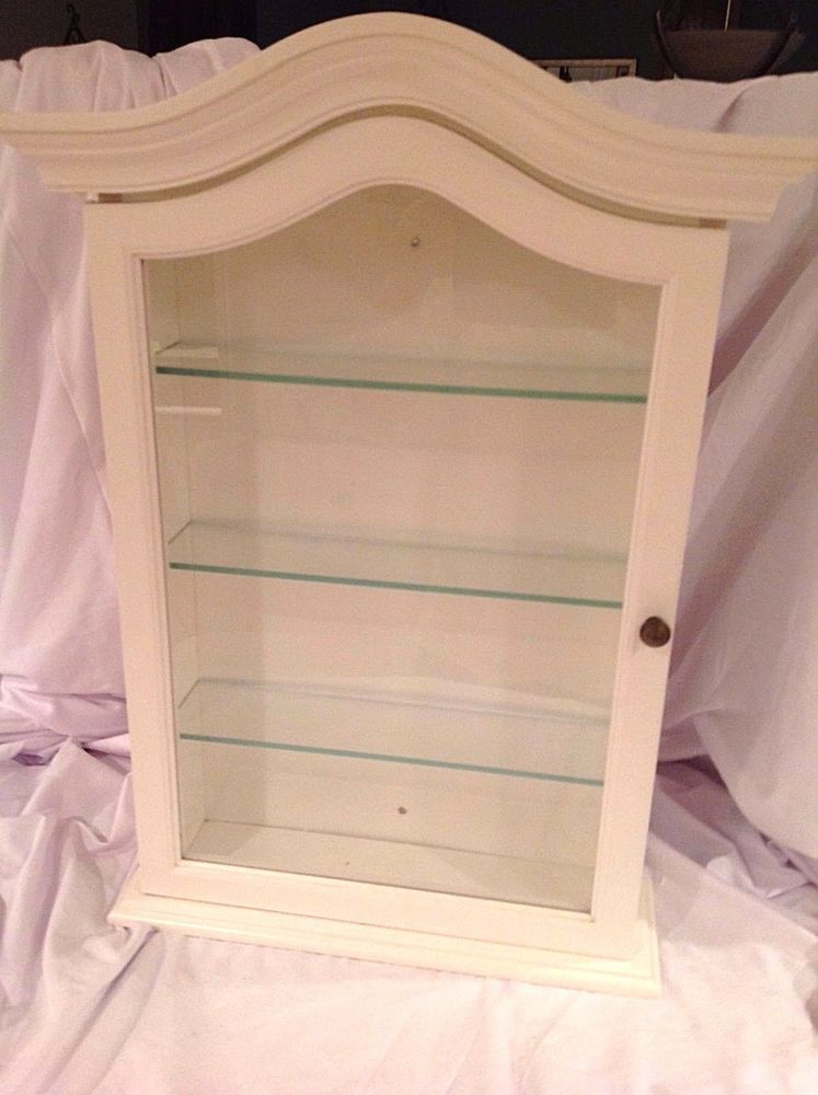 Beautiful 4 Shelf White Wood Glass Wall Curio Cabinet Case Large Display Shelf Made  Italy #Exposures