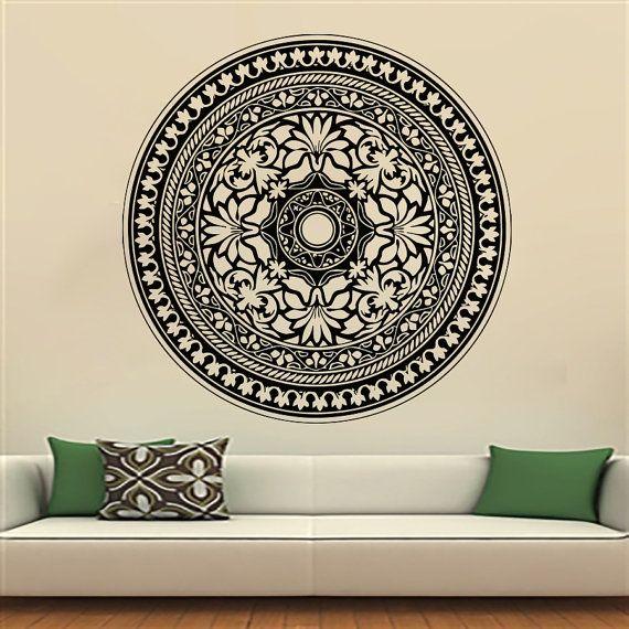 Mandala Yoga Oum Om Sign Wall Decal Vinyl Sticker Wall Decor Home