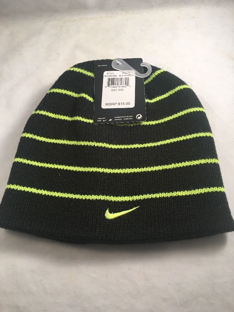 e0db7762bdb95 New Nike Boys Hat Beanie Cap Black Volt Reversible 8 20 Gift Warm Young Men   Nike  Beanie