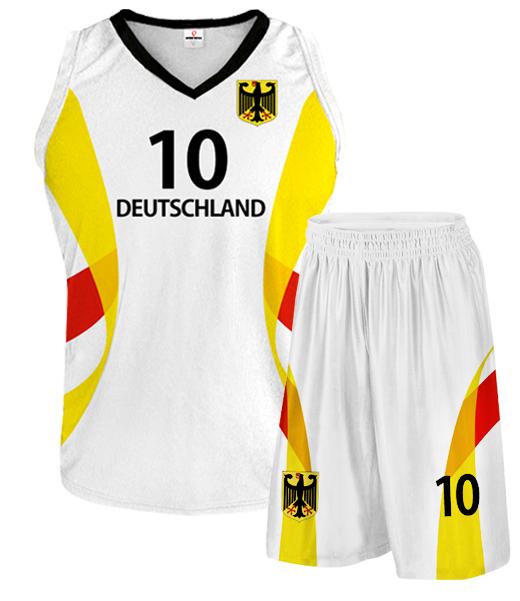 DEUTSCHLAND 2014/15 vielfarbige Basketballbekleidung mit Wunschnamen und Wunschnummer weiß