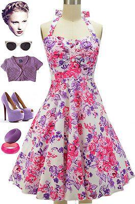 cd777a5d999 50s Inspired Miss Mabel PINK   PURPLE ROSE FLORAL Pinup HALTER TOP Sun Dress