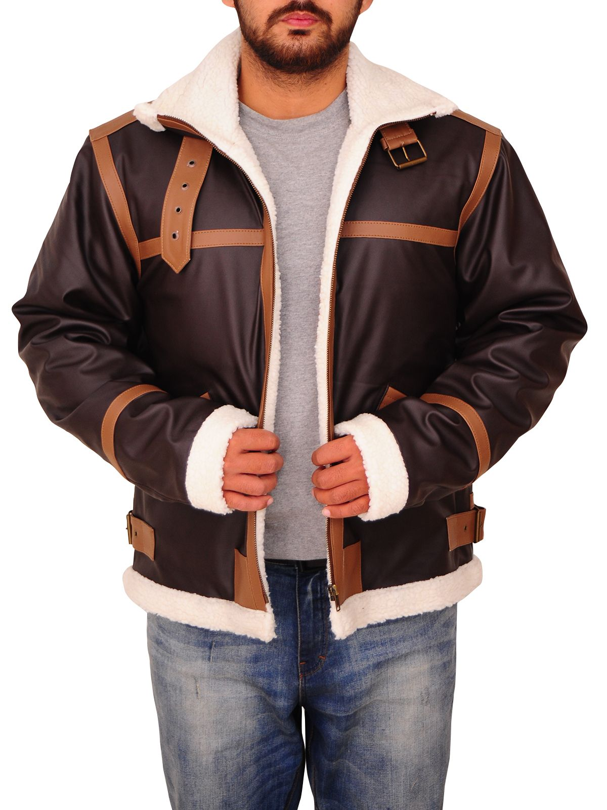 Men Brown Fur Jacket Fur leather jacket, Leather jacket