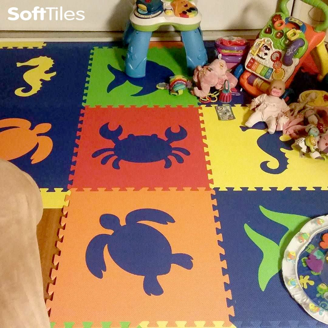 This SoftTiles Sea Animals Play Mat captures the blues of the ocean with colorful sea animals. Perfect for creating soft play spaces in playrooms and nurseries.