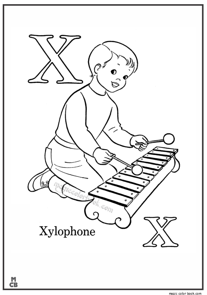 Alphabet X With Picture Coloring Pages Xylophone