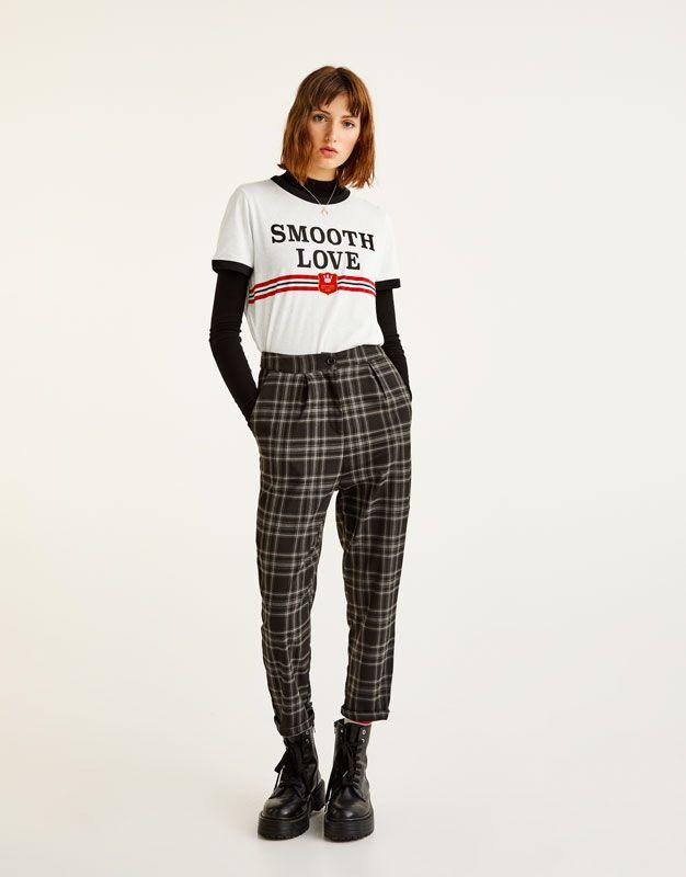 prix raisonnable comment commander Réduction Checked joggers - Trousers - Clothing - Woman - PULL&BEAR ...