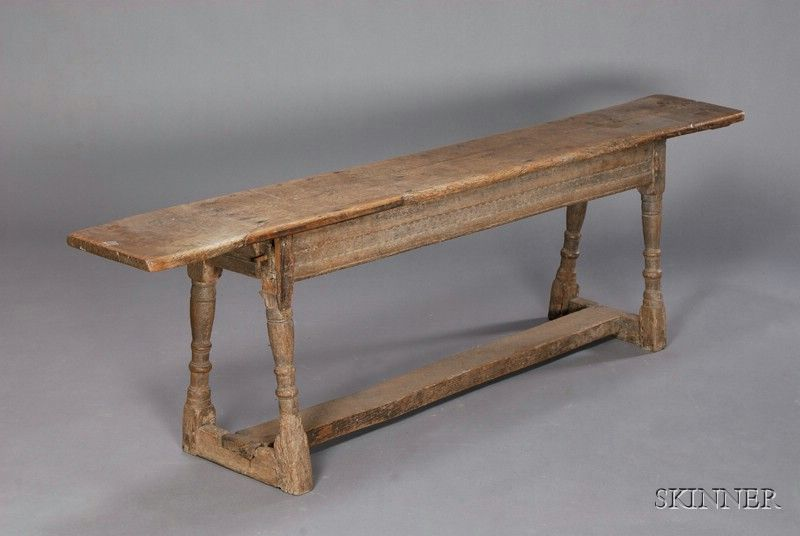 English jacobean oak long bench th century plank