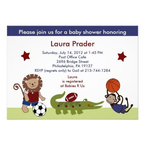 Safari Team/Animals Sports Baby Shower Invitation
