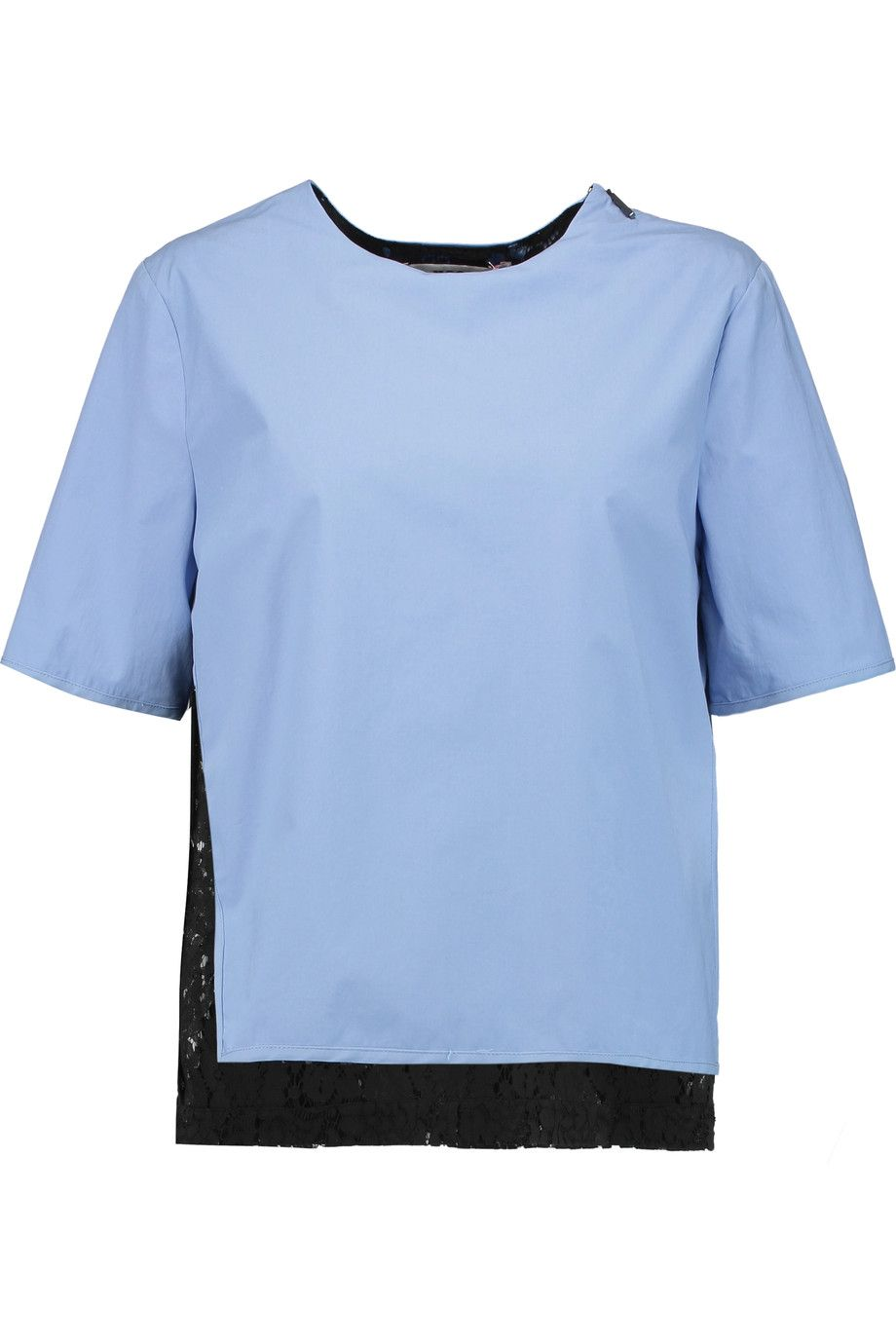 MSGM Layered stretch-cotton and guipure lace top. #msgm #cloth #top