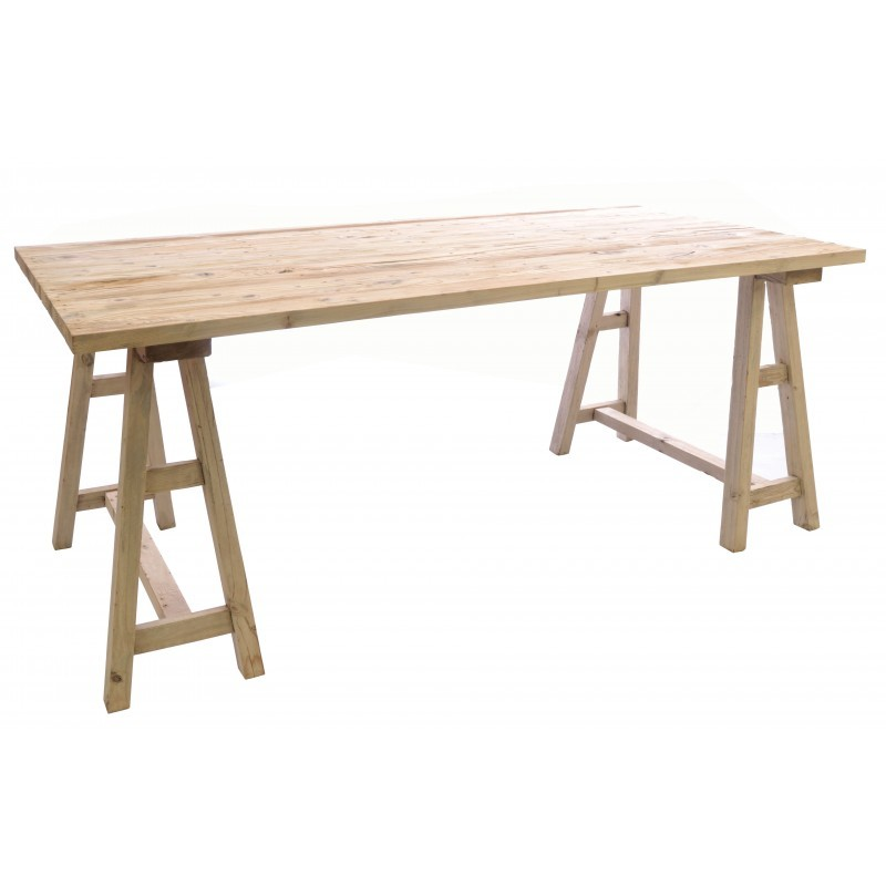 Vintage Styled Trestle Table Pine Wood Industrial Rustic Dining