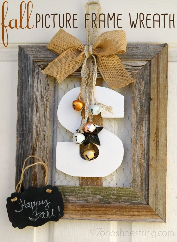 Fall Picture Frame Wreath Craft Fall Pinterest Frame Wreath