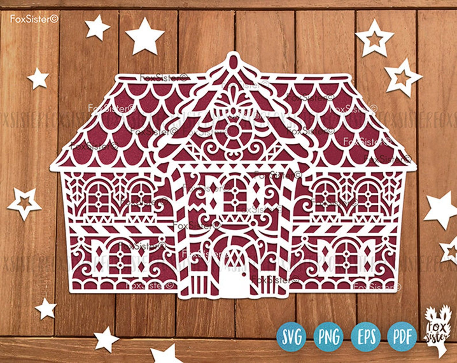 Christmas Gingerbread House Svg, Christmas Village Svg