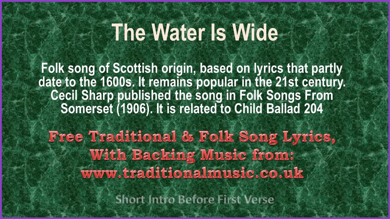 The Water Is Wide Song Lyrics & Music (With images