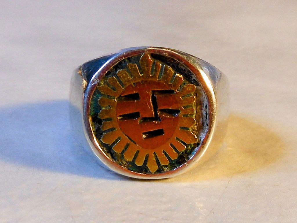 Mens Sun Face Ring Sterling Silver Size 9 Mayan Style Old Mexico ...