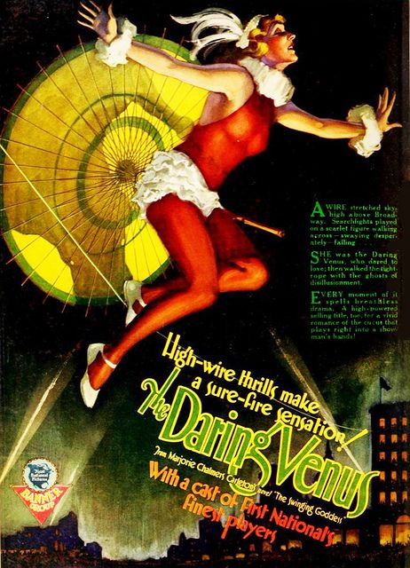High-wire thrills make a sure-fire sensation in 1926's The Darling Venus. #vintage #1920s #movies #posters