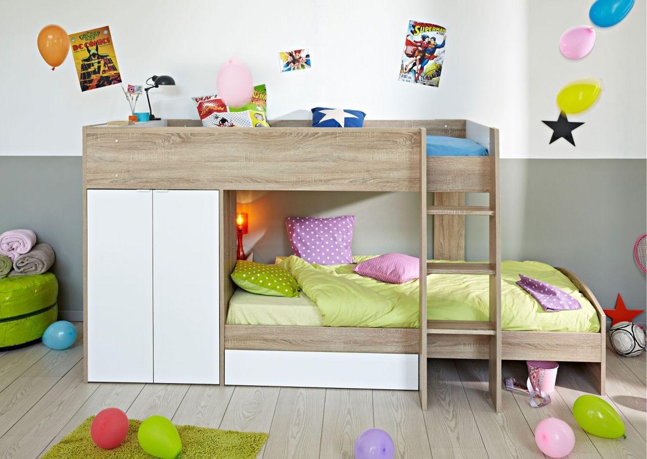 Etagenbett Hochbett Doppelstockbett : Hochbett etagenbett doppelstockbett kinderbett 90x200 eiche weiss