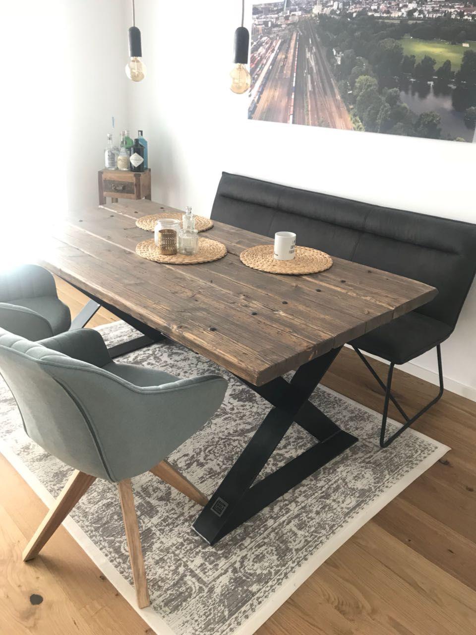 Esstisch aus Gerüstbohlen, Massivholz, Industrial Design