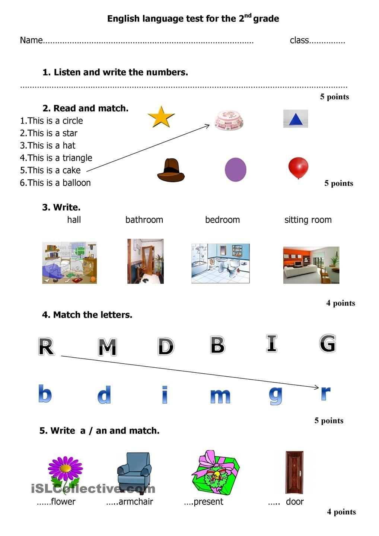 English language test for the 2nd grade English language