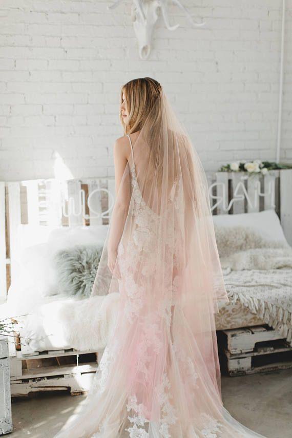 Pink Ombre Veil Blush Ombre Drop Veil Double Layer Pink Etsy Pink Ombre Wedding Bridal Veil Pink Veil