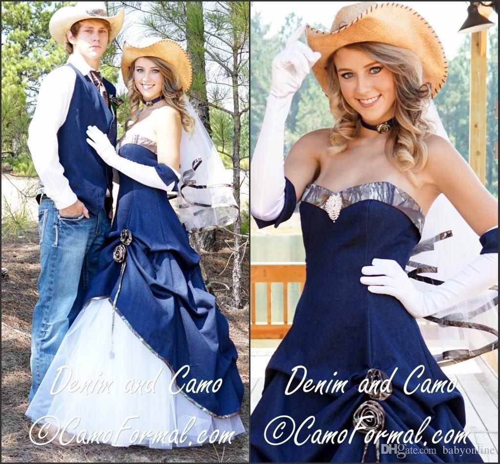 Redneck wedding dress  Cheap  Newest Fashion Cowboy Blue Denim Camo Wedding Dresses A