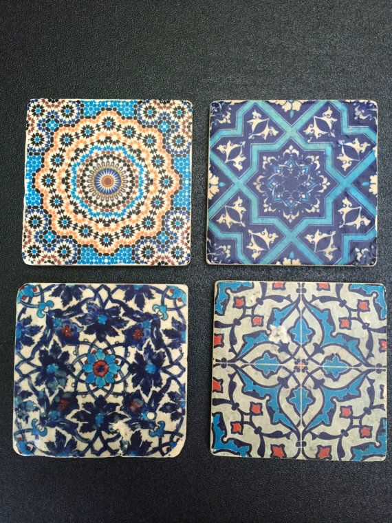 Moroccan tile coasters by AmyBGoods on Etsy