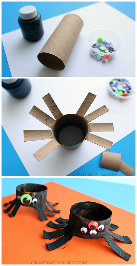 2 Toilet paper roll spider crafts for Halloween! Kids love them!
