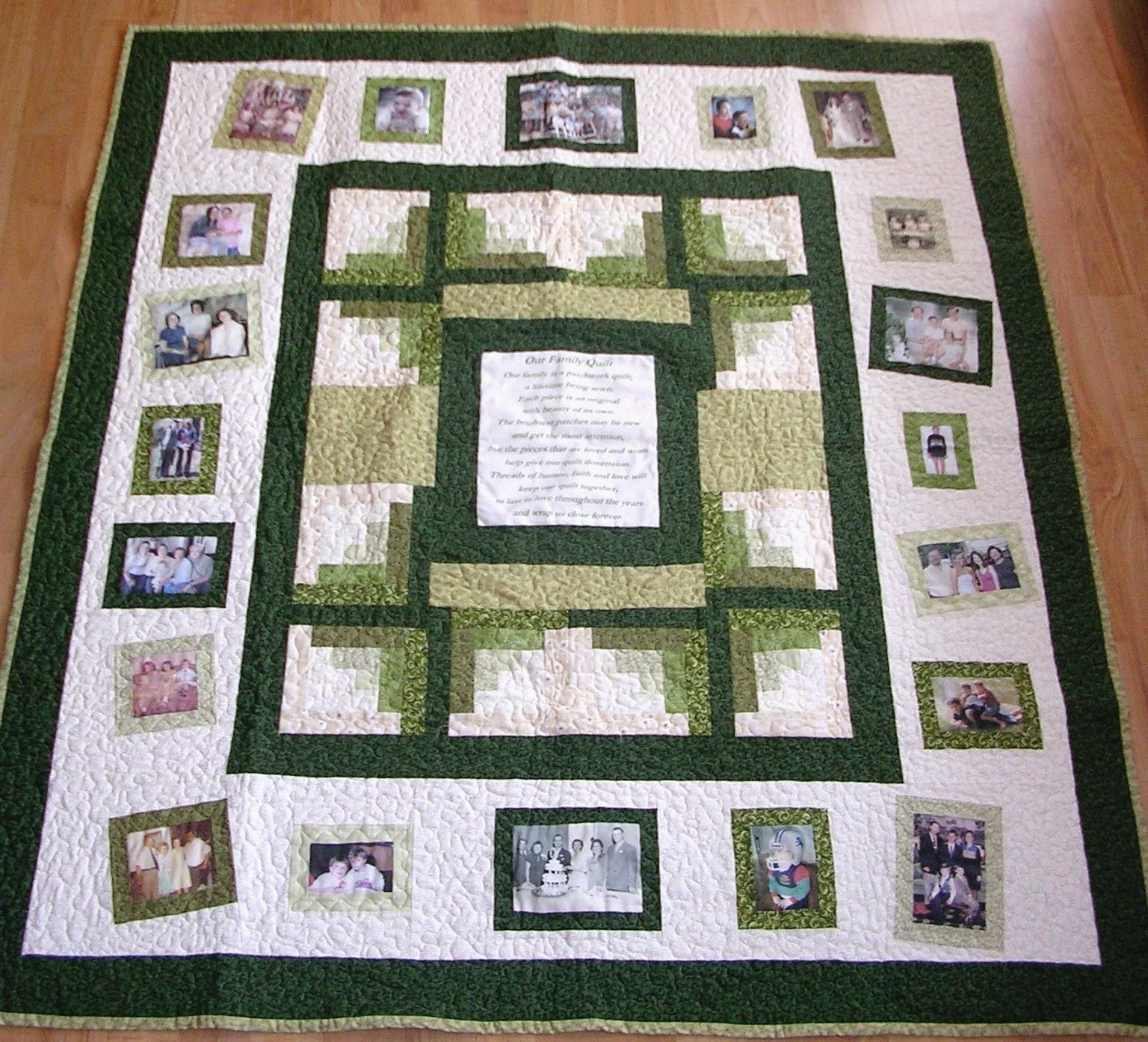 Photo Memory Quilt - Custom Designed with your pictures - Lap Size ... : quilted lap throws - Adamdwight.com