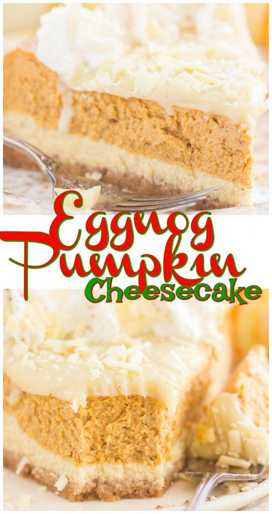 This Eggnog Pumpkin Cheesecake is a fabulous marriage of two awesome seasonal flavors, and it is undeniably a standout dessert for the holidays! #eggnog #pumpkin #cheesecake #christmas #baking #recipe #christmasbaking #christmasrecipe #cheesecakerecipe #holidays #eggnogcheesecake