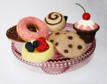 laura lee birch, plate of needle felted desserts