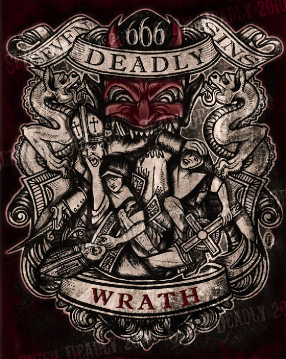 Se7en deadly deadly wrath print 11x14 art pinterest for Seven sins tattoo