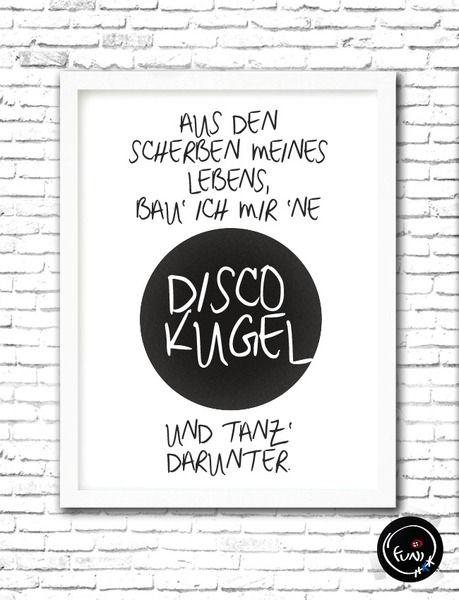 Wand Deko Discokugel Typo Poster Size L Ein Designerstuck