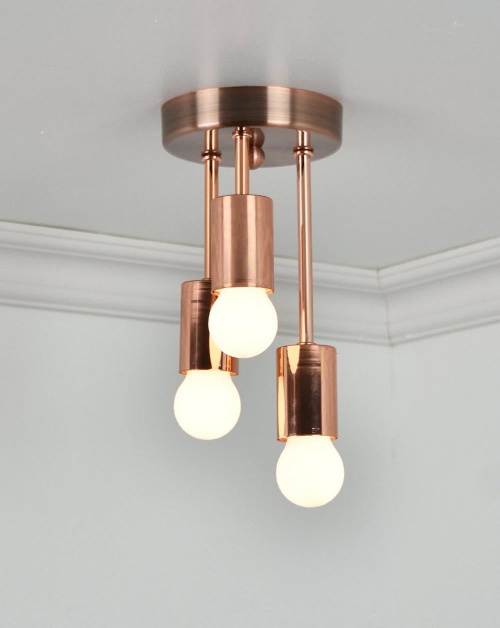 Copper Ceiling Light Triple Flush Mount Three Bulb Ceiling Etsy In 2020 Copper Ceiling Lights Brass Ceiling Light Light Fixtures Flush Mount