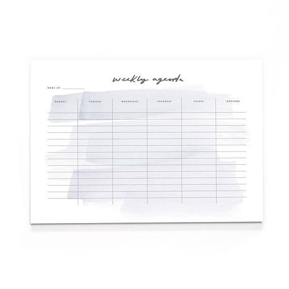Brush Stroke Weekly Agenda A Wall Planner A Desk Pad  Planning