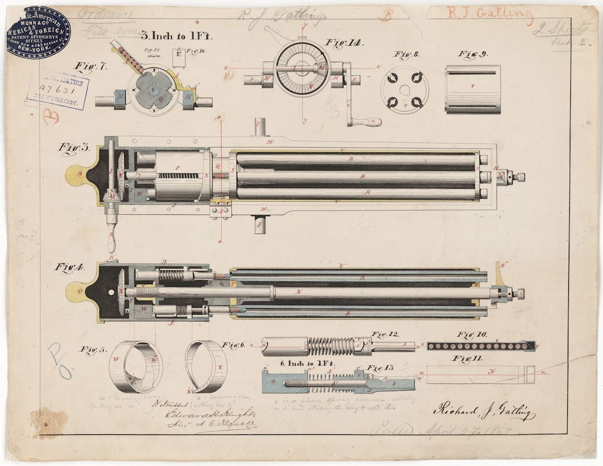 25 best patent drawings images by indiana legal archive on the gatling gun patent drawing by richard jordan gatling 1865 drawing courtesy of the national archives and records administration records of the patent malvernweather Images