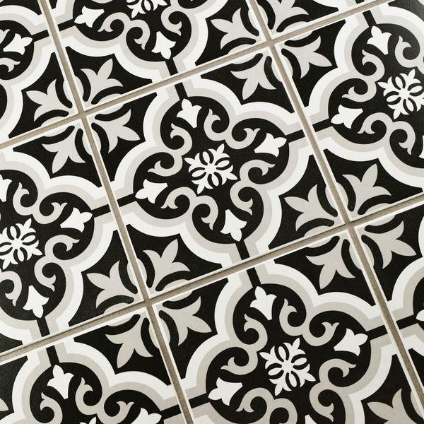 The Somertile Cavado Clic Ceramic Floor And Wall Tile Captures Al Look Of Cement Tiles This Medium Sheen Features A Fleur De Lis White