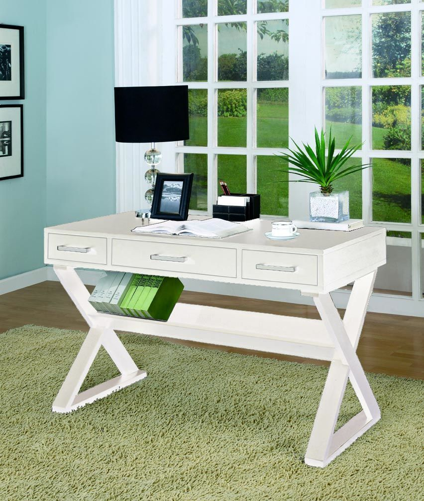 White Office Desk Cst-800912, Coaster Furniture 800912 The Classy ...