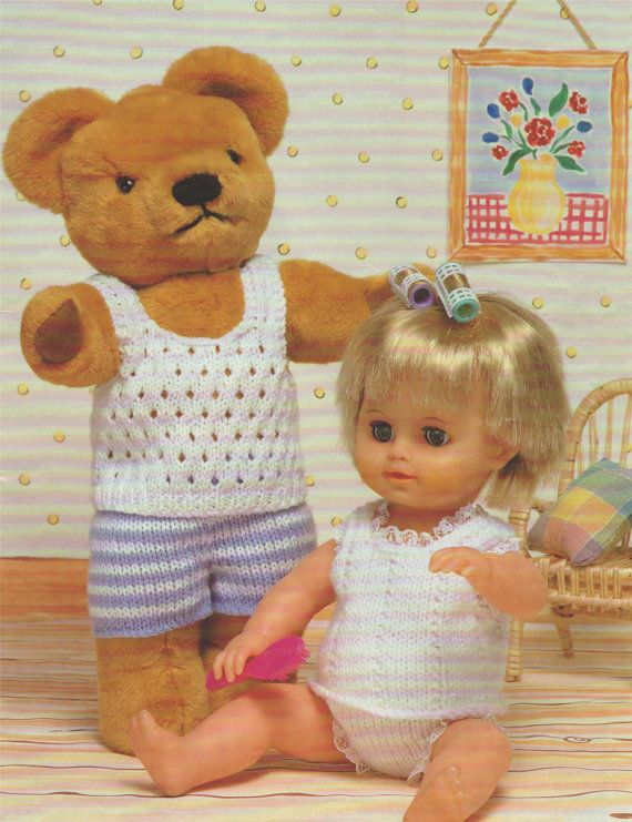 Teddy and Dolls Clothes Knitting Pattern : by PDFKnittingCrochet