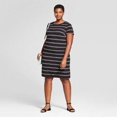 1c8ac95afeb Women s Plus Size Striped T-Shirt Dress - Ava   Viv™ Black   Target ...