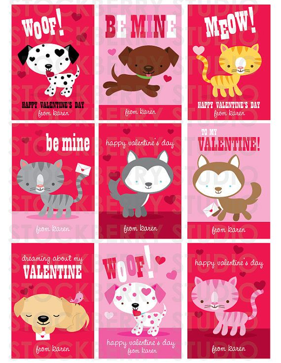 Dogs And Cats Printable Valentine S Day Card By Stockberrystudio