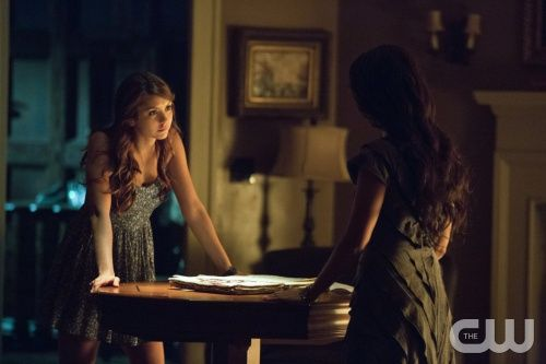 """The Vampire Diaries -- """"Death and the Maiden"""" -- Image Number: VD507a_0111.jpg Pictured (L-R): Nina Dobrev as Elena and Janina Gavankar as Tessa -- Photo: Blake Tyers/The CW -- © 2013 The CW Network, LLC. All rights reserved."""